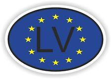 OVAL EUROPEAN UNION FLAG con LV Codice paese Autoadesivo Lettonia Motocycle auto