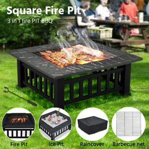 Grillz Outdoor Fire Pit Bbq Party Table Garden Patio Camping