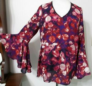 NY-Collection-L-Top-BELL-SLEEVES-Purple-Floral-Glitzy-Zipper-Neck-Trim-NWT