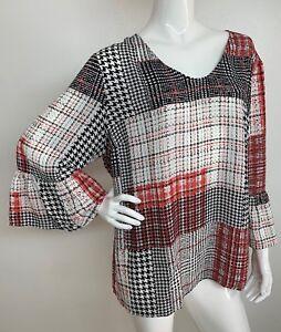 Women-039-s-New-Plus-2X-Black-White-Multi-Color-Peasant-Top-Blouse-Shirt-Boho-NWT