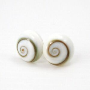 ROUND 10 mm BIANCO PANNA Spirale Shiva Occhio Guscio 925 Orecchini a Perno Argento Sterling  </span>