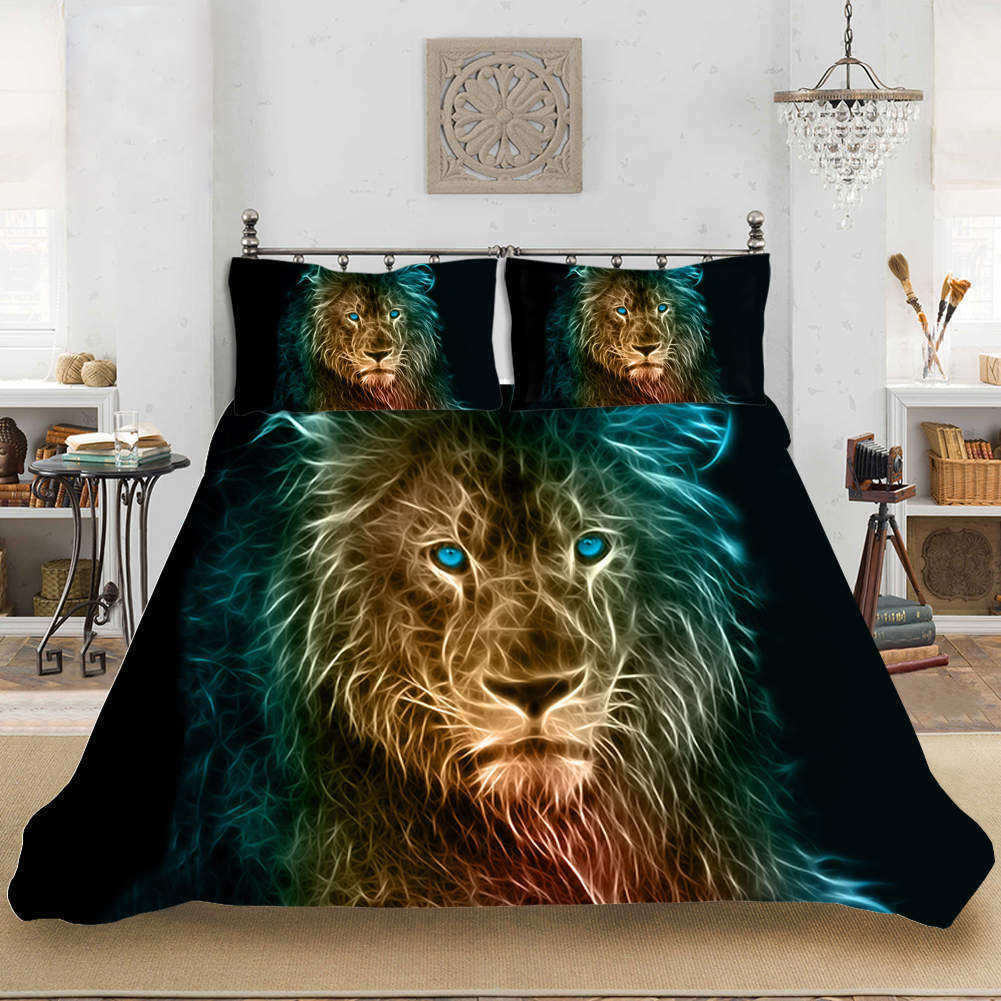 Blau Eye A Lion 3D Quilt Duvet Doona Cover Set Single Double Queen King Print