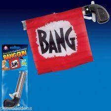 1 BANG GUN RED FLAG Clown Comedy Gag Toy Joke Stage Prop Joker Fake Metal Pistol