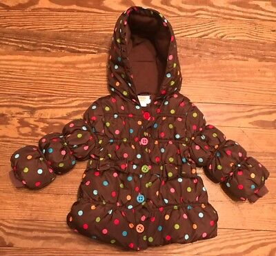 GYMBOREE WINTER CHEER BROWN DOT PUFFER JACKET 6 12 24 2T 3T 4T 5T NWT