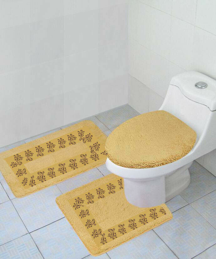 New High Quality Bathroom Rug Mat Set /& Toilet Lid Cover #7 2-T YELLOW//GREY