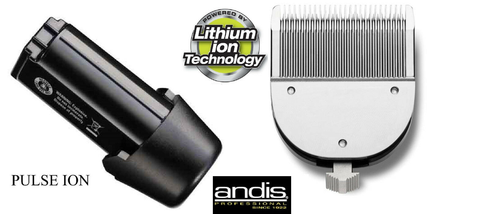 REPLACEMENT BATTERY&ADJUSTABLE BLADE SET for Andis PULSE Li Ion & SUPRA CLIPPER