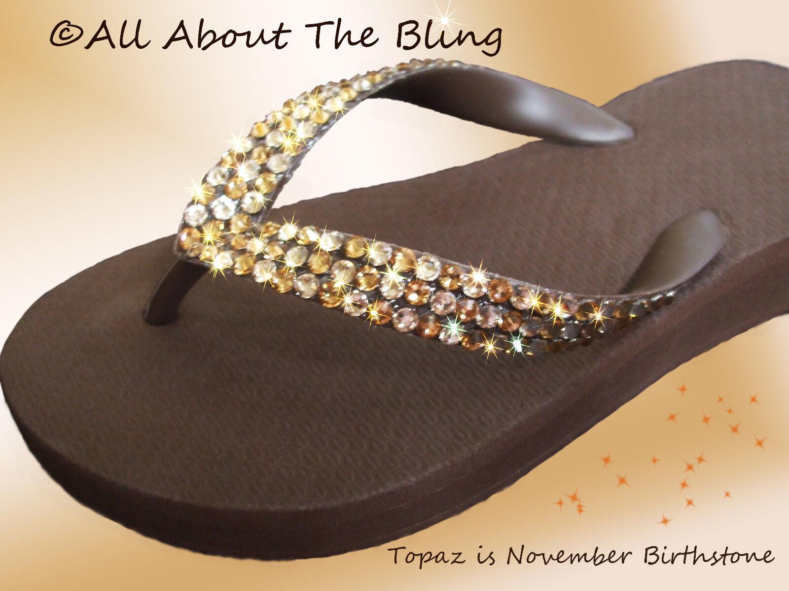 Crystal Havaianas Marroneee flip flops or Wedge with SWAROVSKI CRYSTALS Topaz & Silk