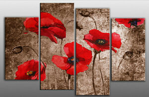 Extra Large Red Poppies On Brown Canvas Artwork Picture 4 Panels Ready To Hang Ebay