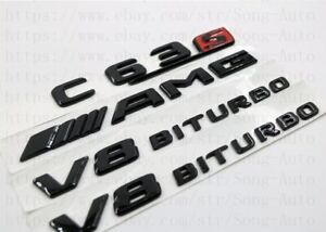 MERCEDES-BENZ-C-CLASS-GLOSS-BLACK-SET-AMG-C63-S-V8BITURBO-BADGES-EMBLEMS-STICKER