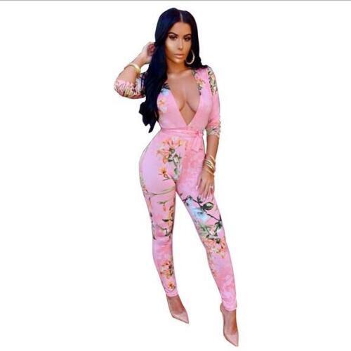 Fashion Jumpsuit V neck bandage Floral Snake Skin Printed Long jumpsuit S-2XL