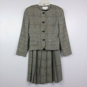 Vintage-1980-039-s-Christian-Dior-Pure-100-Wool-Plaid-Blazer-amp-Skirt-Set-Size-6