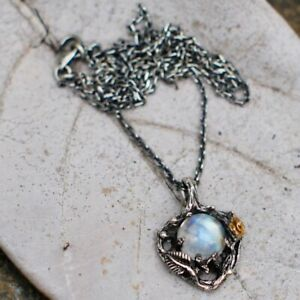 Western-Style-Vintage-Leaves-Colorful-Natural-Moonstone-Rose-Pendant-Necklace