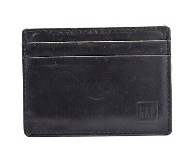 Leale Carta Da Uomo In Cuoio Gap Titolare Wallet Nero-mostra Il Titolo Originale
