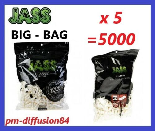 - JASS BIG BAG LOT de 5 SACHETS de 1000 FILTRES Mousse 5000 Filtres 6mm