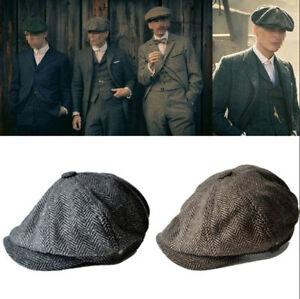 1cec14fafd0 Vintage Wool Tweed Cabbie Newsboy Gatsby Cap Mens Ivy Golf Driving ...