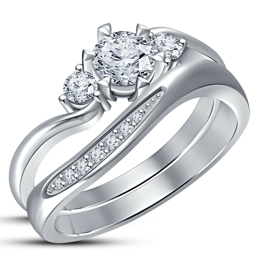 Ladies Wedding Bridal Set 14K White gold Fn Diamond Three Stone Engagement Ring