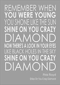 shine on you crazy diamond pink floyd word wall typography words lyric lyrics ebay. Black Bedroom Furniture Sets. Home Design Ideas