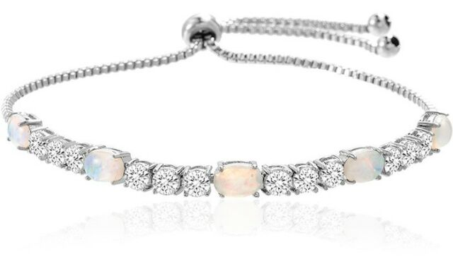 ec16f39bc4fe31 Swarovski Crystal Fire Opal Tennis Bracelet by Italy in 18K White Gold  Filled