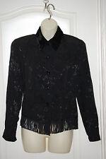 Western BLACK floral FRINGED high VELVET Collar Evening dress JACKET S 6 NEW USA