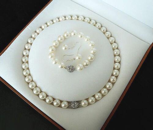 AAA 10 mm Blanc Coquillage Pearl 18 kwgp Cristal Fermoir Boucles d/'oreilles bracelet collier Set