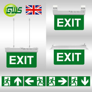 LED-Emergency-Bulkhead-Exit-Lights-Green-Arrow-Sign-Maintained-Non-Maintained-CE