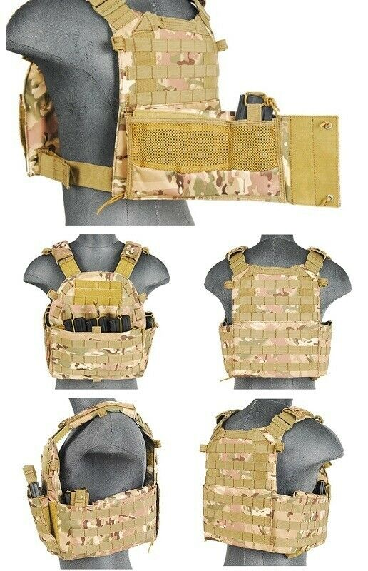 69T4 MOLLE Plate Carrier Vest with Triple Inner Mag Pouch in Modern Land Camo