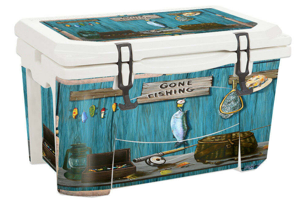 USATuff Decal Wrap Full Kit fits Grizzly  40qt Cooler Gone Fishing  just for you