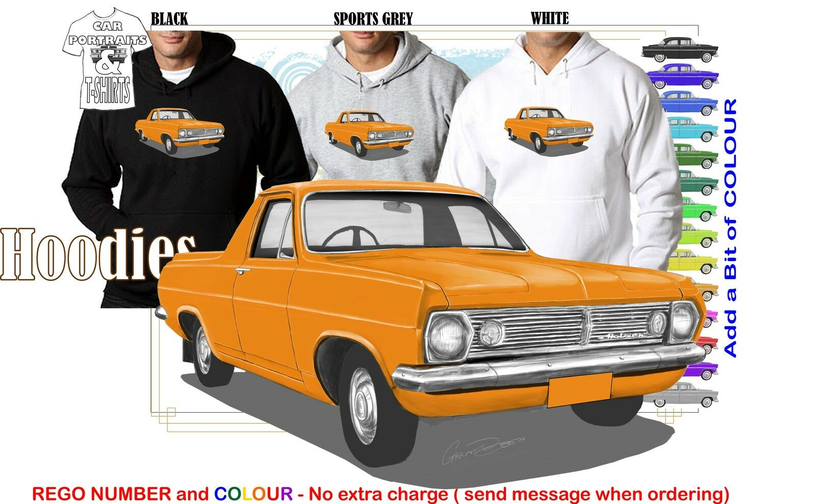 66-68 HR HOLDEN UTE HOODIE ILLUSTRATED CLASSIC RETRO MUSCLE SPORTS CAR