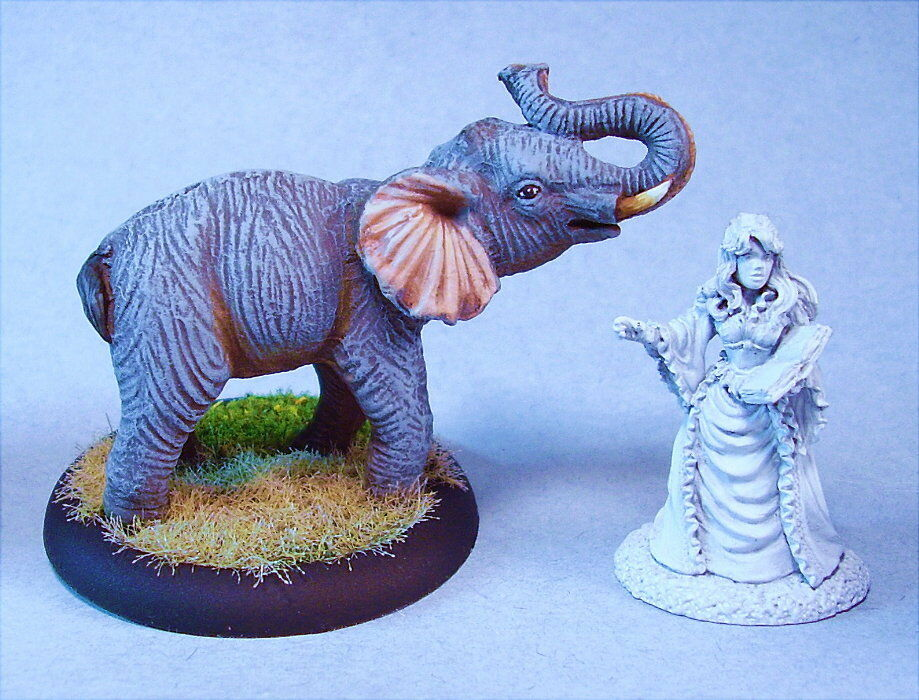 Painted miniature Elephant (unpainted mini for scale only -not included)