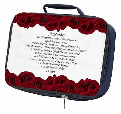 Mothers Day Poem Sentiment Navy Insulated School Lunch Box Bag, Mum-2lbn Completa In Specifiche