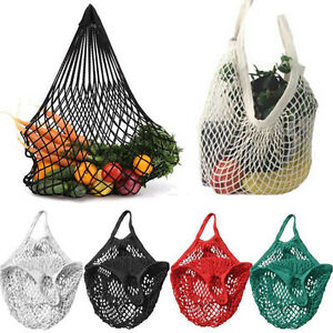 Wiederverwendbare-Einkaufs-Einkaufstuete-Shopper-Tote-Mesh-Netz-Woven-Tasche-aa