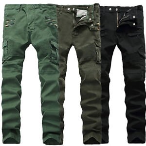 Mens Jeans Tactical Cargo Pant Combat Work Denim Pants Casual Trousers Pockets