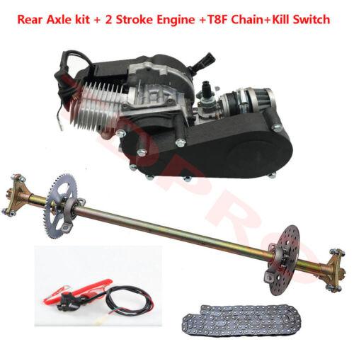 2 Stroke 49cc Engine Motor For Mini Bike Go Kart Rear Live Axle Kit Chain