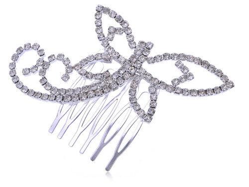 Womens Silver Clear Rhinestones Bridal Dragonfly Head Piece Hair Comb Clip Gift