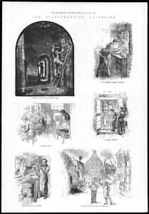 1884-Antique-Print-STAFFODSHIRE-Potteries-Oven-House-Painting-Enamel-63