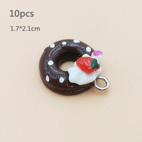 10pcs 22*17mm Charme Bijoux Donut//Pain//Cake Résine Pendentif conclusions Mixte À faire soi-même