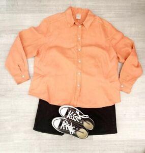 Ladies-Poetry-100-Linen-Shirt-Orange-Long-Sleeve-Blogger-Summer-Size-22-UK