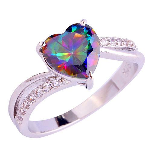 EG/_ Women/'s Fashion Rainbow Color Heart Rhinestone Wedding Ball Party Ring Glori