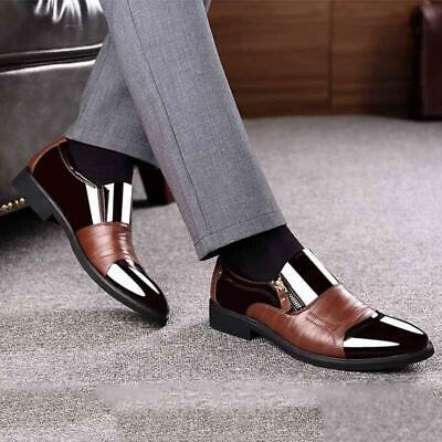 Mens Patent Leather Pointed Toe Dress Formal Business Formal Heel Loafers Shoes