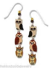 Owl Earrings - 925 Sterling Silver Ear Wires - Whimsical Bird Hoot Dangle NEW