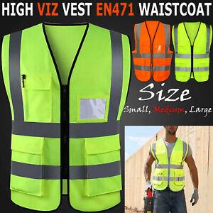 Hombre-Alta-Visibilidad-Trabajo-Cargo-Pantalon-Reflectante-Seguridad-Highway-Top