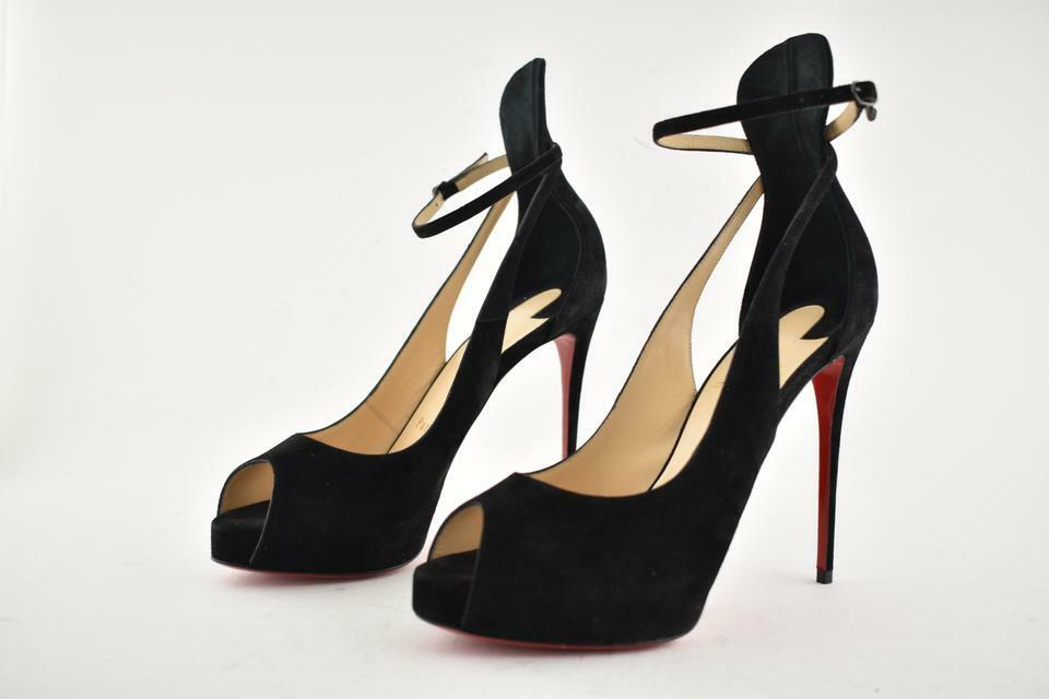 NIB LOUBOUTIN MASCARALTA BLACK VELOUR 120 PEEP TOE HIDDEN PLATFORM PUMPS 38