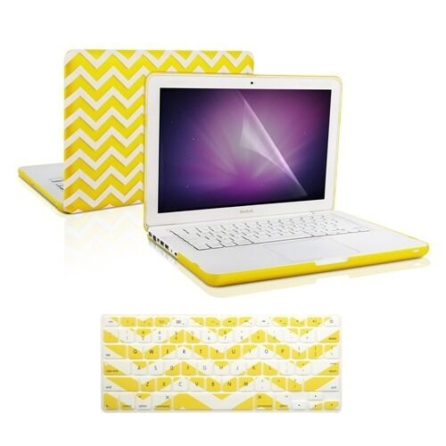 """Keyboard Cover for Macbook White 13/"""" A1342 Matte Chevron YELLOW Hard Case"""