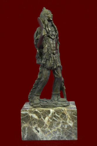 Native American Bronze Sculpture Indian Chief Mohican Marble Base Statue Sale