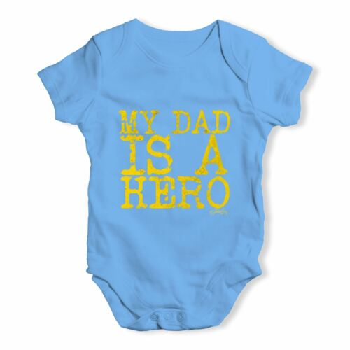 Twisted Envy My Dad Is A Hero Baby Unisex Funny Baby Grow Bodysuit