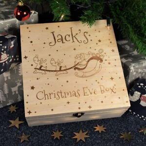 Personalised-Vigilia-di-Natale-di-bambini-in-legno-inciso-scatola-regalo-Babbo-amp-Slitta