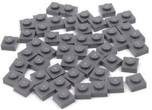 LEGO-50-x-Basic-Platte-1x1-dunkelgrau-3024-NEUWARE