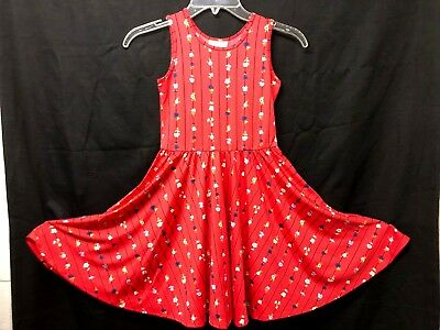 Liefdadig Nwt Dot Dot Smile Tank Sleeve Twirl Dress Summer Knit Red Floral Stripes Print Nieuw (In) Ontwerp;