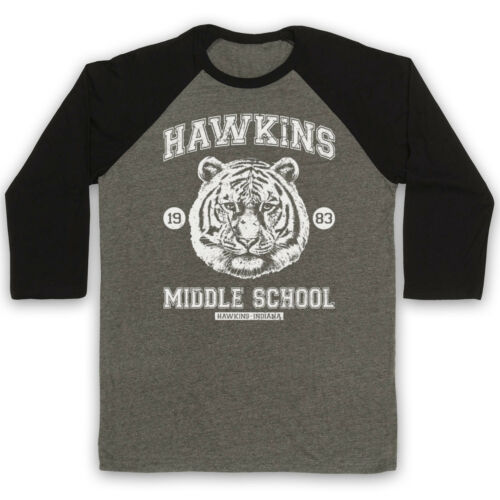STRANGER THINGS HAWKINS MIDDLE SCHOOL UNOFFICIAL TIGER 3//4 SLEEVE BASEBALL TEE