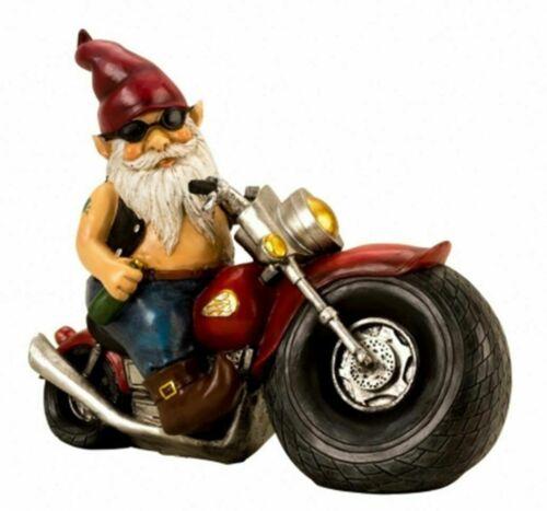 Motorradzwerg XL Gartenzwerg auf Motorrad 35 cm Figur NEU